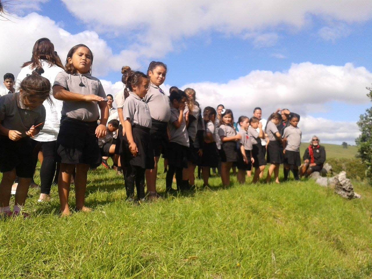 Getting ready to haka powhiri the waka